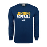 Navy Long Sleeve T Shirt-Softball Stacked