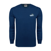 Navy Long Sleeve T Shirt-Goldey-Beacom Official Logo