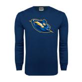 Navy Long Sleeve T Shirt-Lightning Man
