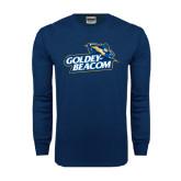 Navy Long Sleeve T Shirt-Goldey-Beacom Official Logo Distressed