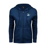ENZA Ladies Navy Fleece Full Zip Hoodie-GBC