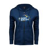 ENZA Ladies Navy Fleece Full Zip Hoodie-Goldey-Beacom Official Logo