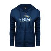 ENZA Ladies Navy Fleece Full Zip Hoodie-Goldey-Beacom Official Logo