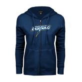 ENZA Ladies Navy Fleece Full Zip Hoodie-Goldey-Beacom Lightning