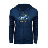 ENZA Ladies Navy Fleece Full Zip Hoodie-Athletics