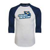 White/Navy Raglan Baseball T-Shirt-Goldey-Beacom Official Logo