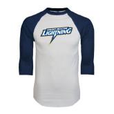 White/Navy Raglan Baseball T-Shirt-Goldey-Beacom Lightning