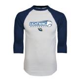White/Navy Raglan Baseball T-Shirt-Baseball Ball Design