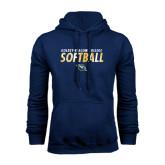 Navy Fleece Hoodie-Softball Texture Stacked