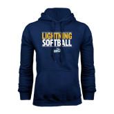 Navy Fleece Hoodie-Softball Stacked