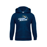 Youth Navy Fleece Hoodie-Goldey-Beacom Official Logo