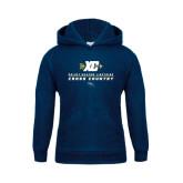 Youth Navy Fleece Hoodie-Cross Country Arrow Design