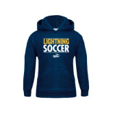 Youth Navy Fleece Hoodie-Soccer Stacked