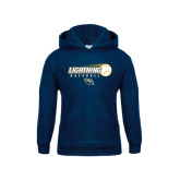 Youth Navy Fleece Hoodie-Baseball Ball Design
