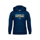 Youth Navy Fleece Hoodie-Softball Texture Stacked