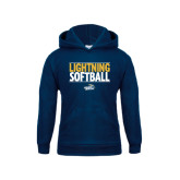 Youth Navy Fleece Hoodie-Softball Stacked