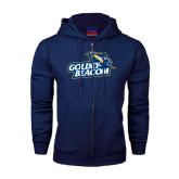 Navy Fleece Full Zip Hoodie-Goldey-Beacom Official Logo