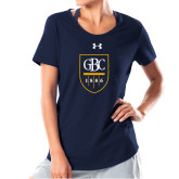 Ladies Under Armour Navy Charged Cotton Tee-GBC Shield