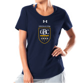 Ladies Under Armour Navy Charged Cotton Tee-GBC Shield with School Name