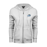 ENZA Ladies White Fleece Full Zip Hoodie-Goldey-Beacom Official Logo