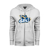 ENZA Ladies White Fleece Full Zip Hoodie-GBC