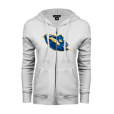 ENZA Ladies White Fleece Full Zip Hoodie-Lightning Man