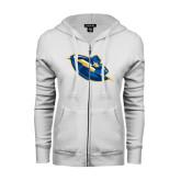 ENZA Ladies White Fleece Full Zip Hoodie-Lightning Man