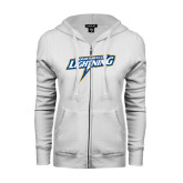 ENZA Ladies White Fleece Full Zip Hoodie-Goldey-Beacom Lightning