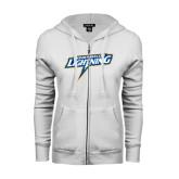 ENZA Ladies White Fleece Full Zip Hoodie-Goldey-Beacom Lightning