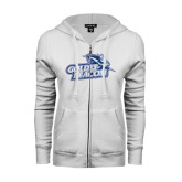 ENZA Ladies White Fleece Full Zip Hoodie-Goldey-Beacom Official Logo Glitter