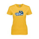 Ladies Gold T Shirt-Goldey-Beacom Official Logo