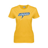Ladies Gold T Shirt-Goldey-Beacom Lightning