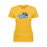 Ladies Gold T Shirt-Goldey-Beacom Official Logo Distressed