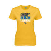 Ladies Gold T Shirt-Goldey-Beacom Lightning Stacked