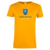 Ladies Gold T Shirt-Goldey Beacom College Vertical