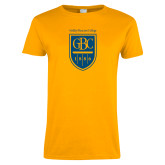 Ladies Gold T Shirt-GBC Shield with School Name
