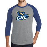Grey/Royal Heather Tri Blend Baseball Raglan-GBC