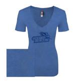 Next Level Ladies Vintage Royal Tri Blend V-Neck Tee-Goldey-Beacom Official Logo Glitter