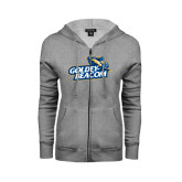 ENZA Ladies Grey Fleece Full Zip Hoodie-Goldey-Beacom Official Logo