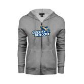 ENZA Ladies Grey Fleece Full Zip Hoodie-Goldey-Beacom Official Logo