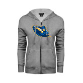 ENZA Ladies Grey Fleece Full Zip Hoodie-Lightning Man