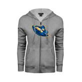ENZA Ladies Grey Fleece Full Zip Hoodie-Lightning Man