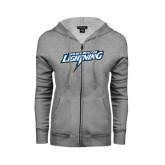 ENZA Ladies Grey Fleece Full Zip Hoodie-Goldey-Beacom Lightning