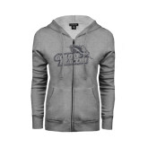 ENZA Ladies Grey Fleece Full Zip Hoodie-Goldey-Beacom Official Logo Glitter