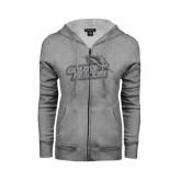 ENZA Ladies Grey Fleece Full Zip Hoodie-Goldey-Beacom Official Logo Glitter