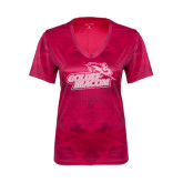 Ladies Pink Raspberry Camohex Performance Tee-Goldey-Beacom Official Logo