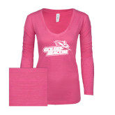 ENZA Ladies Hot Pink Long Sleeve V Neck Tee-Goldey-Beacom Official Logo