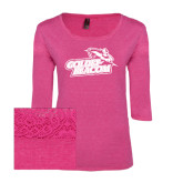 Ladies Dark Fuchsia Heather Tri Blend Lace 3/4 Sleeve Tee-Goldey-Beacom Official Logo