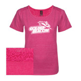 Ladies Dark Fuchsia Heather Tri-Blend Lace Tee-Goldey-Beacom Official Logo