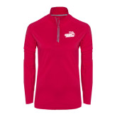 Ladies Pink Raspberry Sport Wick Textured 1/4 Zip Pullover-Goldey-Beacom Official Logo